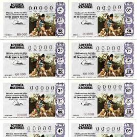 Capilla de billete de Lotería Nacional para el sorteo de 25 de enero de 1972