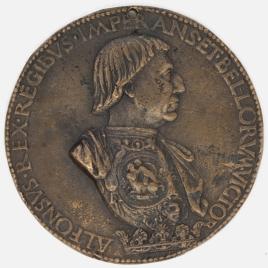 Alfonso V - El Rey sentado, vestido de Emperador y figuras alegóricas