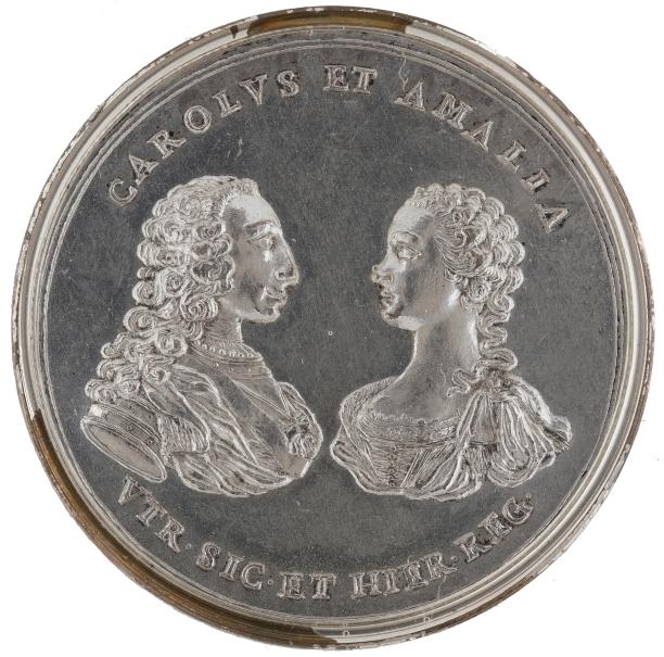 Carlos VII de Nápoles y Sicilia (futuro Carlos III de España) y Amalia de Sajonia - Alegoría de un descubrimiento minero sículo-calabrés