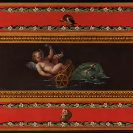 Un amorcillo alado elevado por delfines, rodeados de decoración pompeyana