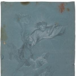 Cristo y un ángel entre nubes