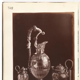 Jarrito de cristal con niños y sierpes, jarro de cristal con Narciso y Eco y jarro