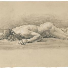 Estudio de desnudo masculino tendido boca abajo