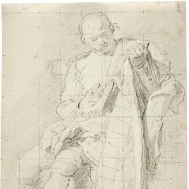 Estudio de figura masculina sentada con capa