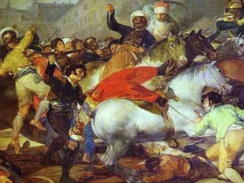 """<em>El dos de mayo de 1808 en Madrid o """"La lucha con los mamelucos""""</em>, Francisco de Goya y Lucientes, comentada por Manuel Tuñón de Lara"""