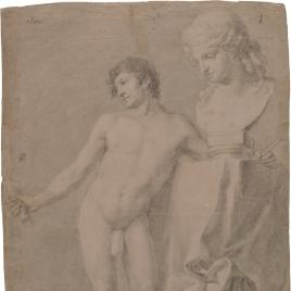 Desnudo masculino con un busto de Baco