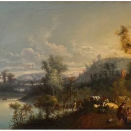 Paisaje fluvial con figuras y ganado