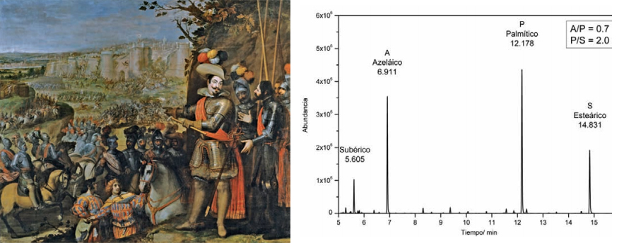 <p><strong>Fig.6: </strong>Chromatogram of the binder of the priming layer obtained by GS-MS of Vicente Carducho's painting <em>The Capture of Rheinfelden</em>, 1634. 297 x 357 cm (P-637). The relative proportions of azelaic, palmitic and stearic acids indicate it is linseed oil.</p>