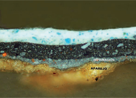 Fig.1(b): Blas de Prado, Holy Family with Ildephonsus of Toledo, John the Baptist and Master Alonso de Villegas. This cross-section of the micro-sample shows the gypsum ground layer (aparejo) and the grey priming layer (imprimación) containing thick agglomerates of red lead.