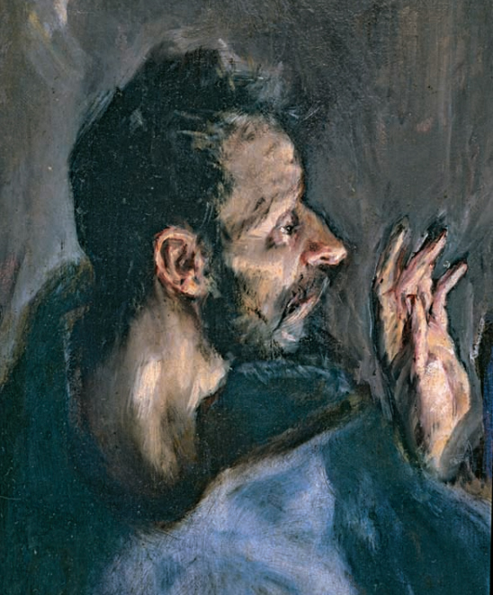 <p><strong>Fig.2(a): </strong>Detail of El Greco, Adoration of the shepherds, 1612-14. 319 x 180 cm (P-2988).</p>
