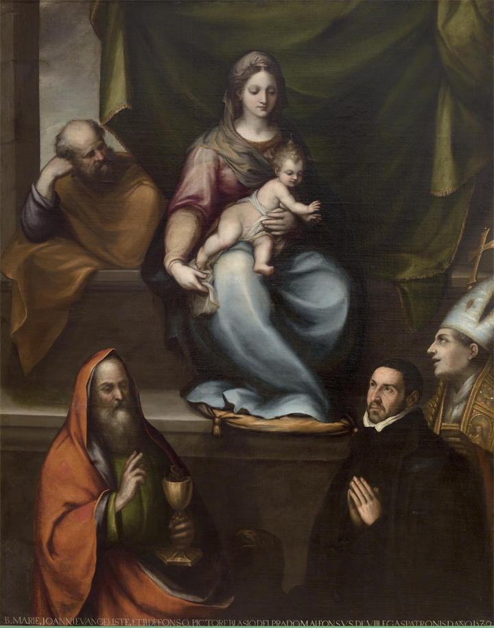 Fig.1(a): Blas de Prado, Holy Family with Ildephonsus of Toledo, John the Baptist and Master Alonso de Villegas, 1589. 209 x 165 cm (P-1059).