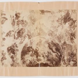 Detalle de la bóveda de Luca Giordano del Casón del Buen Retiro (el Parnaso y las constelaciones celestes) tras el ciclón del 12 de mayo de 1886
