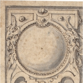 Putti supporting roundels framed in decorative strap-work
