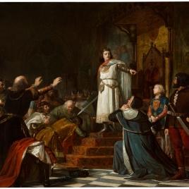 Episodio del reinado de don Enrique III de Castilla, llamado el Doliente, cuando al día siguiente de haber tenido que empeñar su gabán para comer, corrige el orgullo y desmanes de los señores y ricoshomes de Castilla