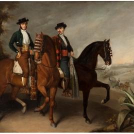El marqués de la Motilla y el conde del Águila, a caballo