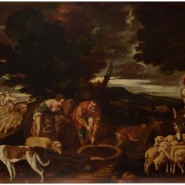 Jacob y Raquel en el pozo abrevando los rebaños