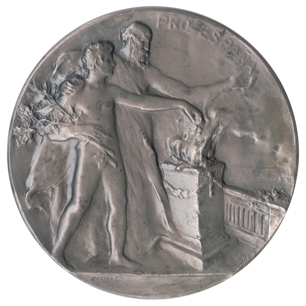 Medal commemorating the laying of the first stone of the Club Español in Buenos Aires