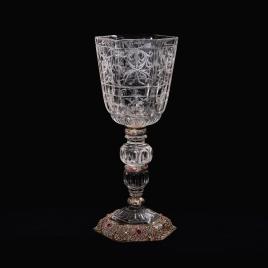 Copa de cristal de cuerpo hexagonal