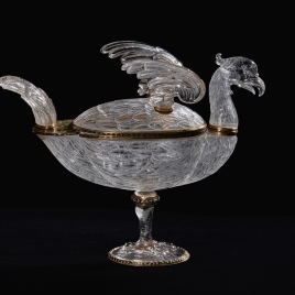 Rock crystal vessel in the form of an eagle