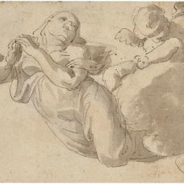 Figura femenina y un angelito sobre nubes