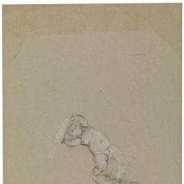 Dos geniecillos desnudos flotantes / Paños en forma de media luna. Figura con manto