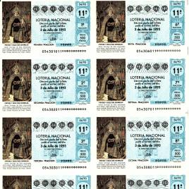 Capilla de billete de Lotería Nacional para el sorteo de 3 de julio de 1993