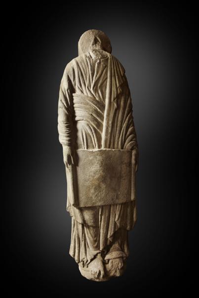 Estatua-columna masculina con cartela