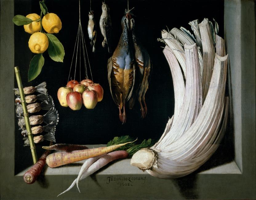 Bodegón de caza, hortalizas y frutas (reprodución fotográfica)