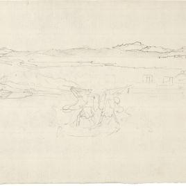 Paisaje de puerto con horizontes montañosos y figuras