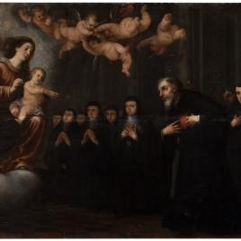 La Virgen y el Niño transverberando el corazón a San Agustín, ante la comunidad de agustinos