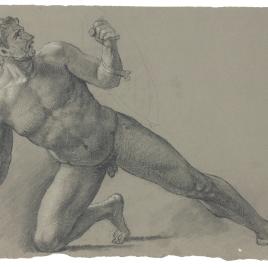Estudio de desnudo masculino semiarrodillado con escudo y empuñadura