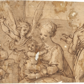 Holy Family, Accompanied by an Angel and Two Saints