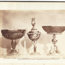 Heliotrope cup with two gold masks, Cup with a lid supported by a female figure, Bloodstone vessel with three gold-coloured dolphins