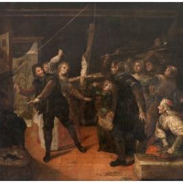 Profanación de un crucifijo (Familia de herejes azotando un crucifijo)