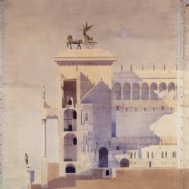 Proyecto de restauración del teatro antiguo de Taormina. Sección perpendicular a la escena