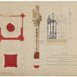 Planta, columna y verja del monumento a colón en Madrid
