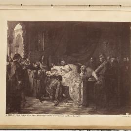 Felipe III de Francia, moribundo, bendice a su hijo