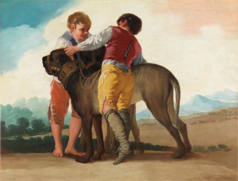 Niños con perros de presa