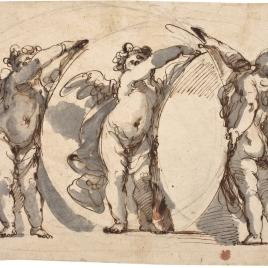 Tres angelitos, sosteniendo un óvalo