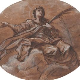 Santa mártir sentada sobre nubes, con una palma