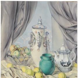 Bodegón con limones, cerámica y frutero