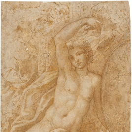 Joven desnudo sentado a un lado de un frontón, sujetando un medallón