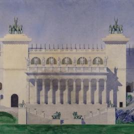 Proyecto de restauración del teatro antiguo de Taormina. Fachada principal.