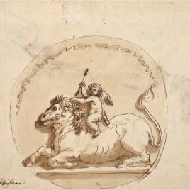 Cupido cabalgando un toro / Estudio de ángel volando, cabeza de Júpiter y apuntes de ojos