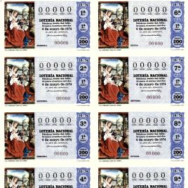 Capilla de billete de Lotería Nacional para el sorteo de 4 de mayo de 1974