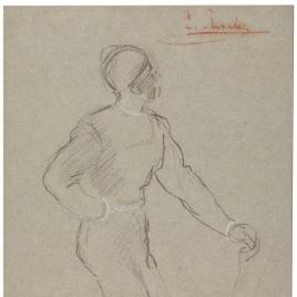 Hombre vestido a la moda del siglo XVI, apoyado