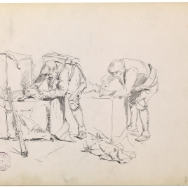 Estudio de hombre agachado mirando en un arcón / Estudio de hombre agachado