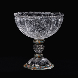 Rock crystal cup with carved masks