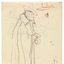 Caballero medieval con sombrero y capa / Grupo de figuras en pie