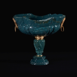 Heliotrope cup with two gold masks